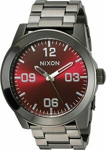 Nixon Men's Corporal SS A3462073 00 48mm Red Dial Stainless Steel Watch