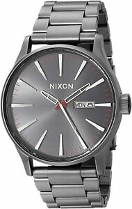 Nixon Men's Sentry SS A356131 00 42mm Black Dial Stainless Steel Watch