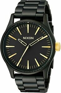 Nixon Men's Sentry 38 A4501041 00 38mm Black Dial Stainless Steel Watch