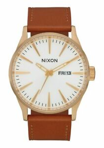 Nixon Men's Sentry A1052621 00 42mm White Dial Leather Watch