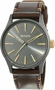 Nixon Men's Sentry 38 A377595 00 38mm Gray Dial Leather Watch