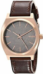 Nixon Men's Time Teller A0452001 00 37mm Black Dial Leather Watch