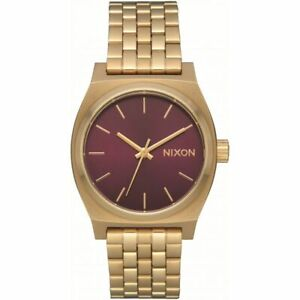 Nixon Women's Medium Time Teller A11302809 00 37mm Burgundy Dial SS Watch