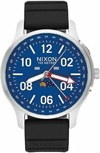 Nixon Men's Ascender A1209722 00 42mm Blue Dial Silicone Watch
