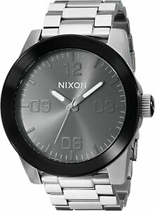 Nixon Men's Corporal A3461762 00 48mm Black Dial Stainless Steel Watch