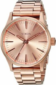 Nixon Men's Sentry 38 A450897 00 38mm Rose Gold Dial Stainless Steel Watch