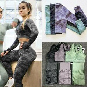 Womens Seamless Yoga Suit Crop Top High Waist Leggings Pants Sports Gym Set P236