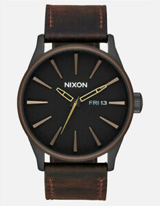 Nixon Men's Sentry A1052786 00 42mm Black Dial Leather Watch