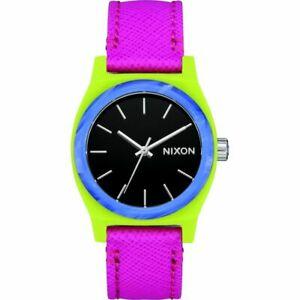 Nixon Women's Medium Time Teller A11723152 00 31mm Black Dial Leather Watch