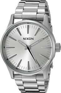 Nixon Men's Sentry 38 A4501920 00 38mm Silver Dial Stainless Steel Watch