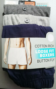 Men#x27;s Boxers Loose Fit 3pk Cotton Rich Button Fly Sizes XS to 2XL BNWT