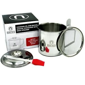 Stainless Steel Cooking Oil Storage or Bacon Grease Canister with Mesh Strainer