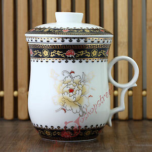 270ml Poeny Flower Ceramic Porcelain Tea Cup Coffee Mug with lid Infuser Filter