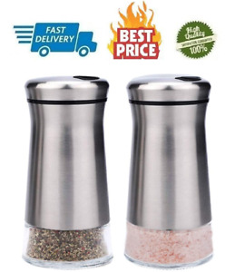 Salt and Pepper Shakers with Adjustable Pour Holes Stainless Steel Salt, Pepper