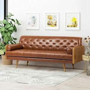 Nunzio Mid Century Modern Tufted Sofa with Rolled Accent Pillows