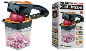 Food Chopper veg chopper & Dicer w/3 Stainless Steel Blades & Container