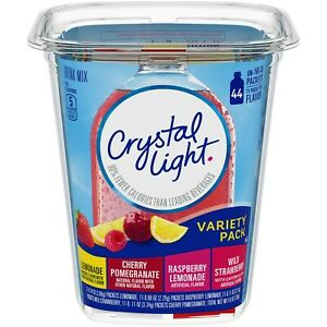 Crystal Light On-The-Go Variety Pack Powdered Drink Mix, 4.84 oz Tub 44 count