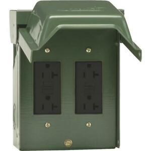 GE Backyard 20A Green Residential Grade 5-20R GFCI Outlet with 1 Receptacles