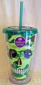 Cool Gear Tumbler GREEN CAMOUFLAGE SKULL Double Insulated Water Drink Cup 18 oz