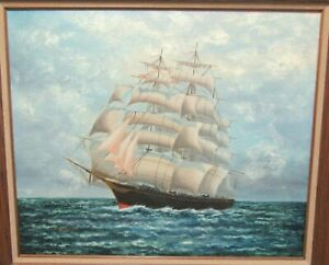 POST CLIPPER SHIP LARGE ORIGINAL OIL ON CANVAS SEASCAPE PAINTING $695.00