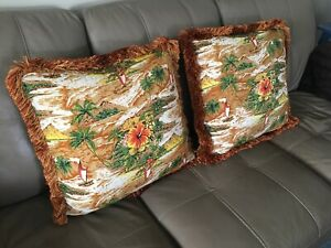2 Tropical Accent Throw Pillows Orange Rust, Custom Made With Zipper