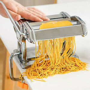Stainless Steel 6 in 1 Pasta Maker Roller Machine Dough Cutter Roller w Handle