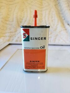 Vintage SINGER Sewing Machine OIL Advertising Tin CAN Excellent condition $15.89
