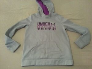 Girls Under Armour Hoodie Sweater YLG Youth L Large Grey Athletic Gym Workout $14.96
