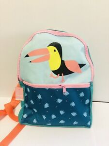Kids Toddlers Babies Backpack Zipper Pouch Green Orange Bird Design