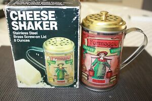 NEW Cheese Shaker Stainless Steel Dredge-Brass Screw on Lid 8 Ounces