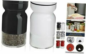 CHEFVANTAGE Salt and Pepper Shakers Set with Adjustable Pour Holes - Black and W