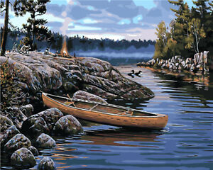 Camping on the River USA Store Paint by Number kit
