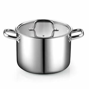 Cook N Home 02681 Tri-Ply Clad Stainless Steel Stockpot with Lid, 8 Quart, silve