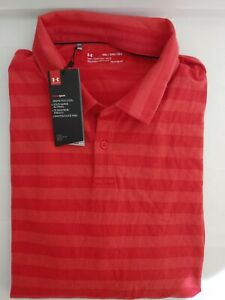 NWT Under Armour Mens Polo Shirt Loose Heat Gear Collared 2 Button Red SZ 2XL $28.99