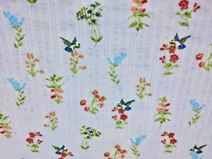 Seersucker Cotton Lawn Fabric Hummingbird Print Blue 57quot; Wide Fabric by the Yard $7.64