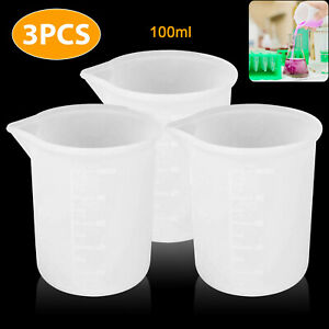 6 3PCS Transparent 100ML Silicone Resin Measuring Cup Mould DIY Jewelry Making