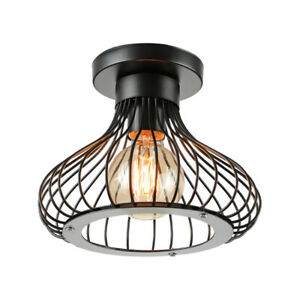 Industrial Vintage Metal Wire Cage Ceiling Light Modern Ceiling Lamp Fixture