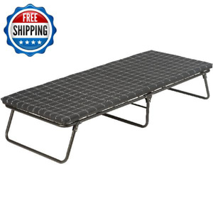 Folding Portable Camping Cot With Sleeping Pad Bed Guest Travel Steel Frame Gray