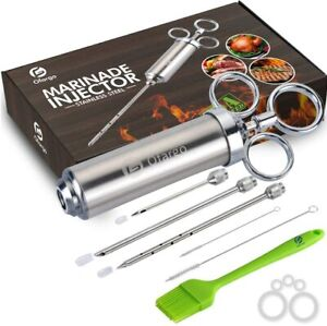 Ofargo Stainless Steel Meat Injector Syringe with 3 Marinade Injector Needles