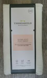 Threshold Ultra Soft 100% Cotton Flat Sheet Queen 300 Thread Count New/Unopened
