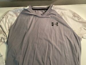 Under Armour Heat Gear 3 4 Long Sleeve Shirt Mens Loose Fit Gray w Camo Sz Large $14.50