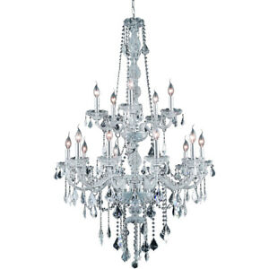 CRYSTAL CHANDELIER LARGE QUALITY CHROME BEAUTIFUL FOYER DINING ROOM 15 LIGHT 52