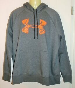 *NWT* UNDER ARMOUR GRAY RIVAL FAVORITE FLEECE GRAPHIC LOGO PULLOVER HOODIE 2XL $34.39
