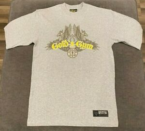 NWOT GOLDS GYM T Shirt MENS SMALL S Heather Gray Workout Muscle Retro Vtg Mens $3.99