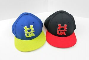 Boys Under Armour Hats Lot of 2 Size SM MD Red Black Blue Neon Green $12.00