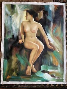 Nude portrait of a sitting woman Oil painting 39� x 30� $200.00
