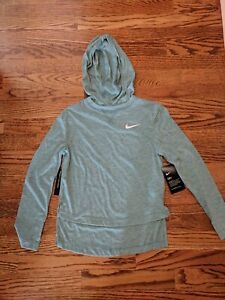 NIKE DRY Dri Fit Girls L S Training Running Hooded Shirt Size Small $20.00