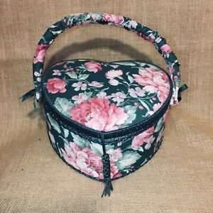 Vintage Fabric Covered Padded Sewing Storage Box Basket With Pockets Heart Shape $19.30