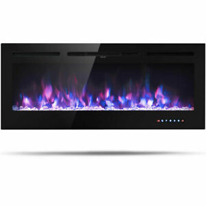 50'' Electric Fireplace Recessed and Wall Mounted 750W/1500W W/ Multicolor Flame