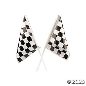 12 Race Car Black and White Checkered Flags Games Kids Birthday Party Decoration